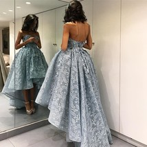 Ball Gown High-Low Prom Dresses Sleeveless 3D Floral Appliques Evening Gowns - $179.00