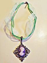 Handmade Silver Tone Victorian Ornate Cameo Choker on Green Organza Ribbon - $7.49