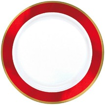Amscan Premium Plastic Round Party-Plates, 7 1/2 inches, White with Red ... - $9.49