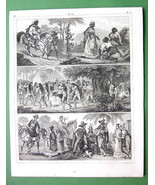 SOUTH AMERICA Natives Indians Negroes Camacans - 1844 Engraving Antique ... - $16.84