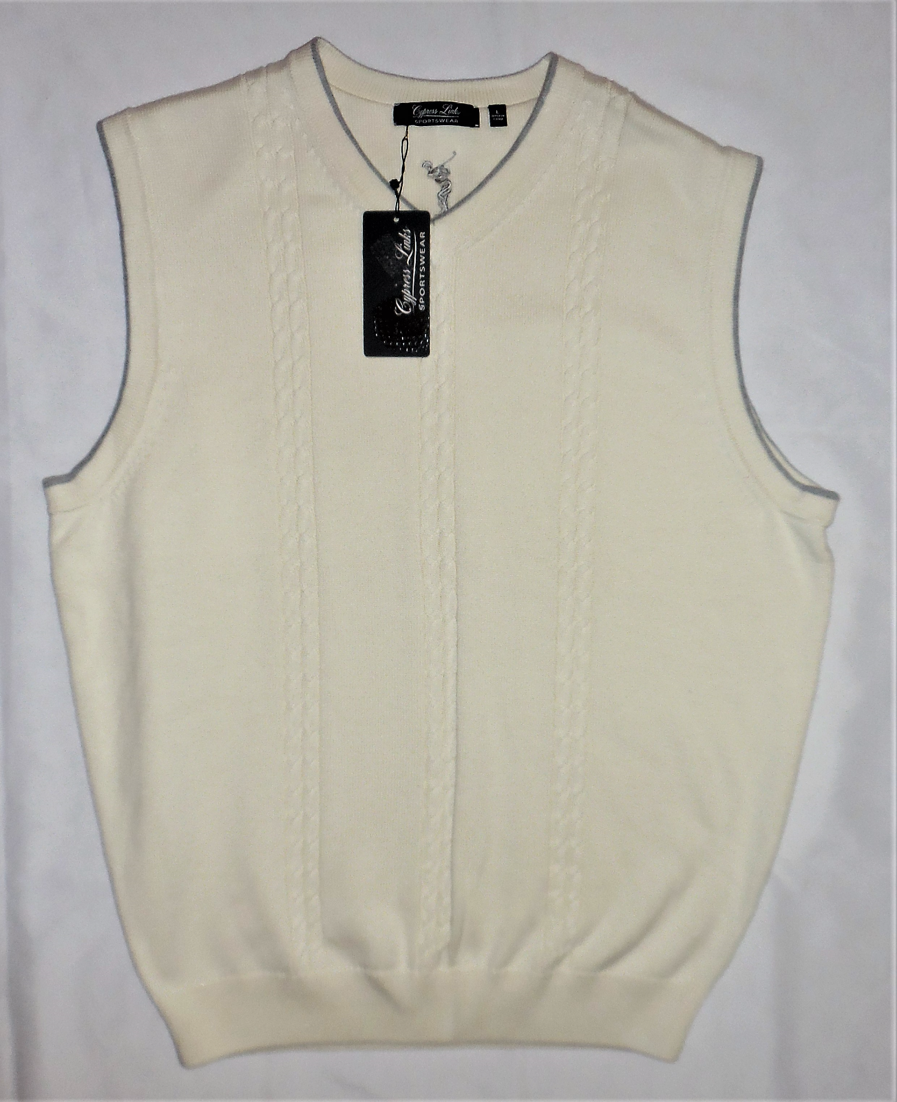 CYPRESS LINKS Cable Knit Cream Sweater Vest Large Golf Attire Sportswear LARGE image 5
