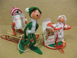 Annalee Christmas Dolls Vintage Lot Of 3 Elf w Sled Mouse Present Opener - $49.95
