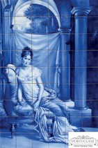 GIRL Portuguese Hand Painted Clay Azulejos Tiles Art Mural Backsplash Az... - $1,866.15
