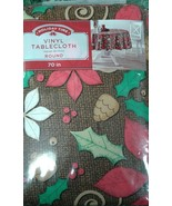 Poinsettia Vinyl Table Cloth Round 70 inches New Holly Brown Berries - $14.00