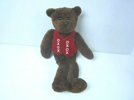 "Target Commonwealth Brown Teddy Bear Plush Helping Hugs Red Vest XOXOXO 13"" - $15.79"