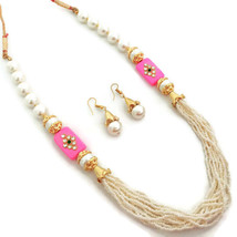 Indian Bollywood Gold Plated Pink White Beads Kundan Necklace  Earrings Set - $13.65