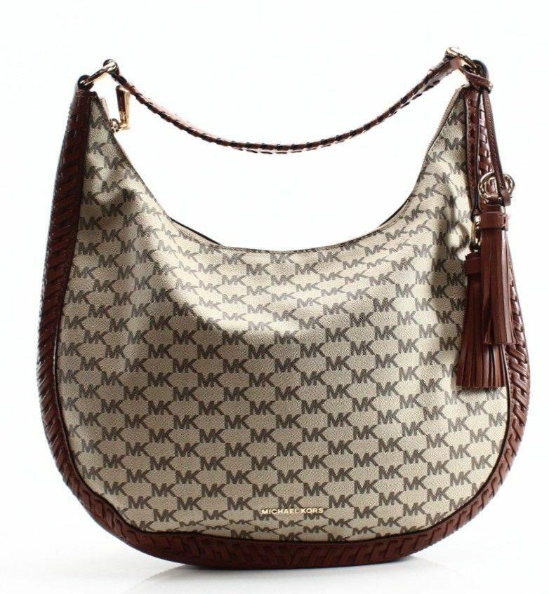 Michael Kors NWT Brown Leather Signature Lauryn Shoulder Bag Purse