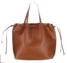 Madewell Leather Drawstring Transport Tote Bucket Bag Brown New G8081 - $171.00 CAD