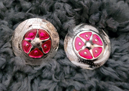 """Silver Star Concho Pink enamel accent NEW by Action Company 1 1/2"""" Set of 4 image 1"""