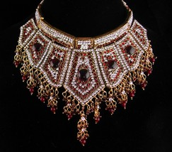 Vintage Cleopatra necklace - Dramatic gold red rhinestone collar - state... - $225.00