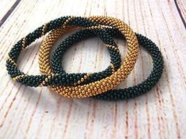 Set Of Rolling Beaded Bracelets Green Gold Bangle for Gift - $17.00+