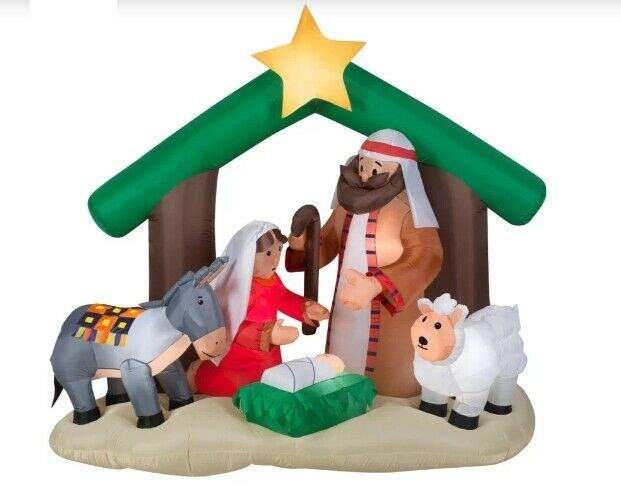 Primary image for NEW Inflatable Nativity Holy Family Scene 7 ft Wide Christmas Yard Decor Outdoor