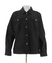 Denim & Co Stretch Twill Jean Jacket Bling Buttons Solid Black S NEW A199936 - $27.70