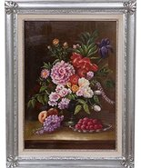 Hand Painted Oil Painting on Canvas Wood Made Frame Silver Leaf Finish 7... - $207.78