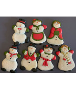 Lot of 7 White Christmas Hanna's Candle Porcelain FRAGRANCED SNOWMAN ORN... - $14.01