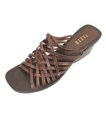 Pazzo Womens 9.5M Brown Leather Open Toe Weave Chunky Heel Slippers Brazil - $23.33