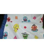 vintage Sesame Street white blue stripes shapes satin trim blanket 76x84... - $17.81