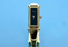 Auth GUCCI 1500 Black Dial Gold Plated Stainless Steel Band Women's Wris... - $197.01