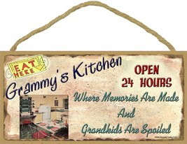 """Grammy's Kitchen Where Grandkids Are Spoiled 5""""x10"""" Grandmother Sign Plaque - $12.86"""