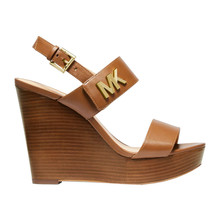 Michael Kors MK Women's Heels Deanna Leather Luggage Wedge Sandals 49T9DNHA1L image 2