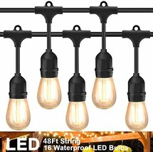 Rybozen 48Ft LED Outdoor String Lights with 16 Hanging Sockets and 16 Sh... - $63.53