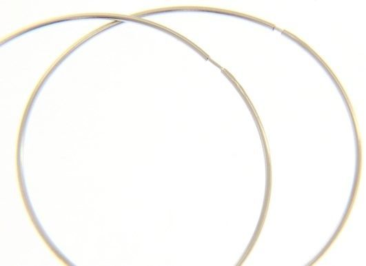 18K WHITE GOLD ROUND CIRCLE HOOP EARRINGS DIAMETER 50 MM x 1 MM, MADE IN ITALY