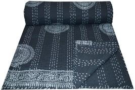 Hand Block Print Kantha Quilt Handmade Cotton Bedspread Queen Size  Blac... - £49.39 GBP