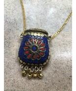 Vintage Coral Lapis Mosaic Mojo Pouch Bag Bronze Necklace - $51.47
