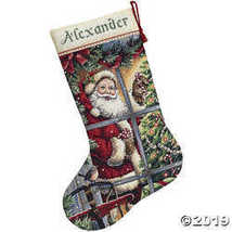 Counted Xstitch Kit-Candy Cane Santa Stocking - $48.86