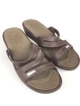Crocs Womens Brown Slip-On Strappy Wedge Slides Summer Beach Sandals Shoes - $17.81