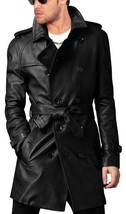 Men Leather Coat Winter Long Leather Coat Genuine Real Leather Trench COAT-UK42 - $214.46