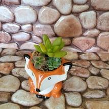 Mini Fox Planter with Succulent Arrangement, Succulent Gift, Animal Planter Pot image 4