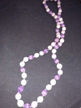 """15"""" Purple and White Satin Beaded Necklace - $5.55"""