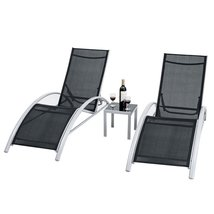 3 Piece Complete Black Outdoor Patio Pool Lounger Set - $278.88