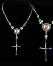 Vintage Signed sterling cross necklace 2 sided turquoise pendant - Ben A... - $245.00
