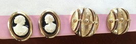 Sarah Coventry Vintage Black Cameo & Mod Gold Earrings CLIP-ON Set Lot Of 2 Pair - $24.08