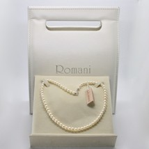 18K White Gold & 925 Silver Necklace Pearls 5.5 6 Mm Beautiful Box Made In Italy - $188.10