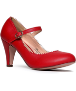 J. Adams Mary Jane Kitten Heels - Vintage Retro Scallop Round Toe Shoe W... - $41.57