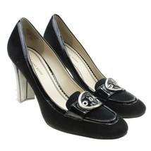 AK Anne Klein Womens Sz 10 Black Leather Suede Buckle Pumps Heels - $29.69