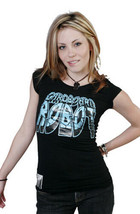 Cardboard Robot Women's Black Teal Solid Logo Cap Sleeve T-Shirt NWT
