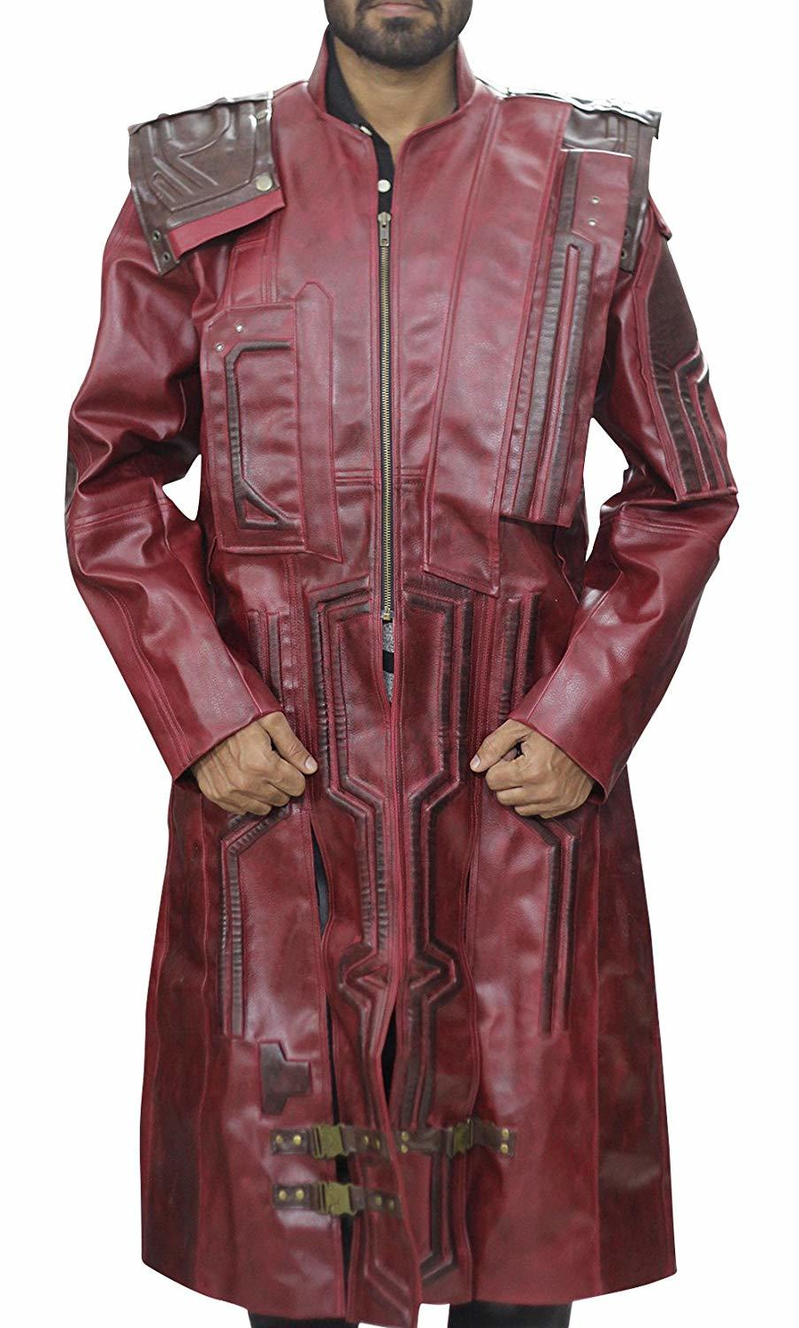 Guardians of galaxy star lord chris peter quill costume leather trench coat