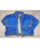 Avon Fashions Cropped Blue Jean Denim Shirt Jacket Sz Medium - $28.49