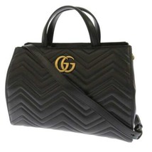 GUCCI GG Marmont Tote Bag Leather Black 2Way Shoulder Bag 443505 Italy Authentic