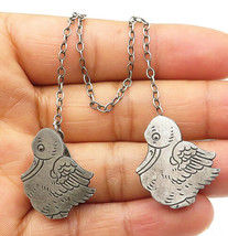 925 Sterling Silver - Vintage Antique Etched Ducks Sweater Clip - T1525 - $35.80