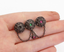 925 Sterling Silver - Vintage Petite Pink & Green Topaz Chain Brooch Pin... - $31.17