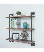 Industrial Pipe Shelving Bookshelf Rustic Modern Wood Ladder Storage She... - $211.16+