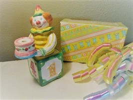 Avon Year-to-Year Clown Birthday Ceramic Candle Holder c.1983 Original Box - $8.50