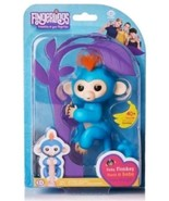 Authentic Fingerlings Baby Monkey WowWee BORIS (BLUE Fingerling w/ Orang... - $29.99
