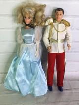 Vintage Mattel Disney Cinderella and Prince Charming Dolls Doll Set With... - $43.55