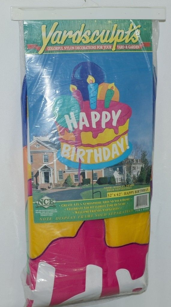 New Creative Enterprises 21404 Yardsculpts Happy Birthday Yard Decoration Cake